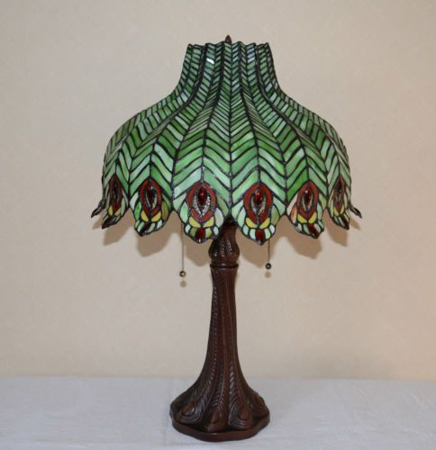 18w zinc base peacock feather stained glass tiffany style jeweled 18w zinc base peacock feather stained glass tiffany style jeweled table lamp ebay aloadofball Choice Image