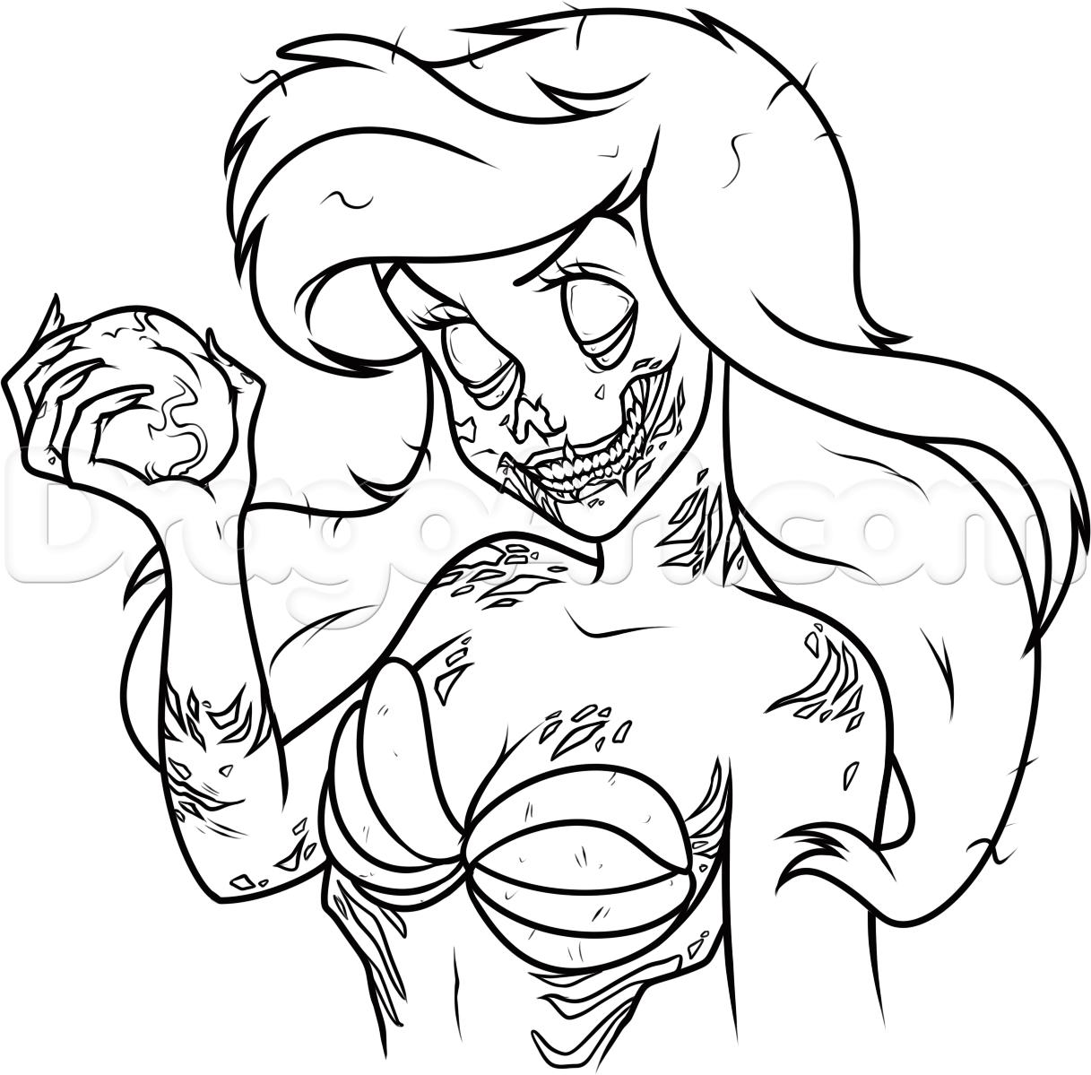 How To Draw Zombie Ariel Step 15 Dark Disney Art Zombie Drawings Disney Art Drawings