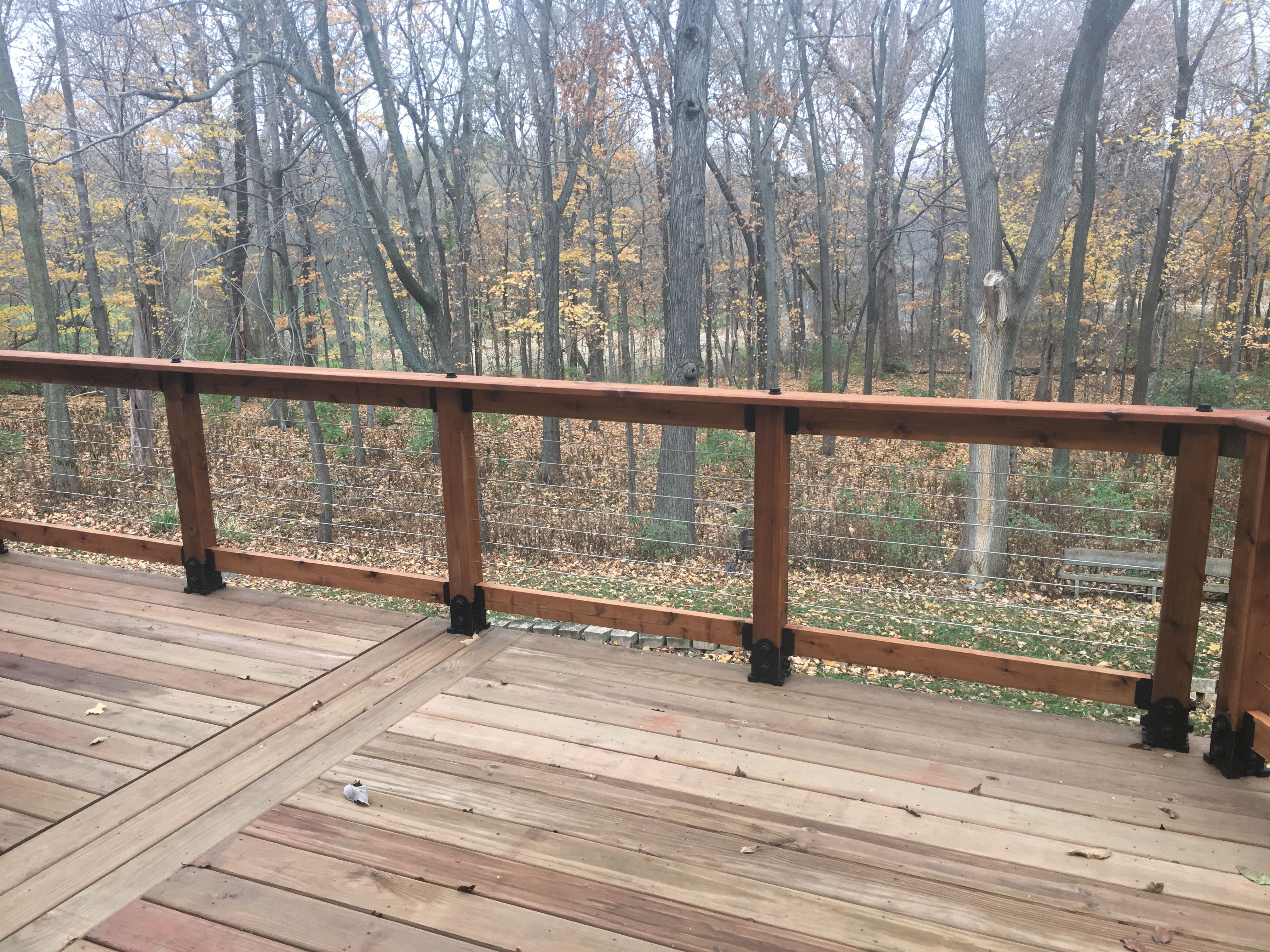 Installed Cable Railing Thru Cedar Posts Posts Were Bracketed Onto Deck Using Ozco Products From Menards Cables Purchase Building A Deck Diy Deck Cedar Posts