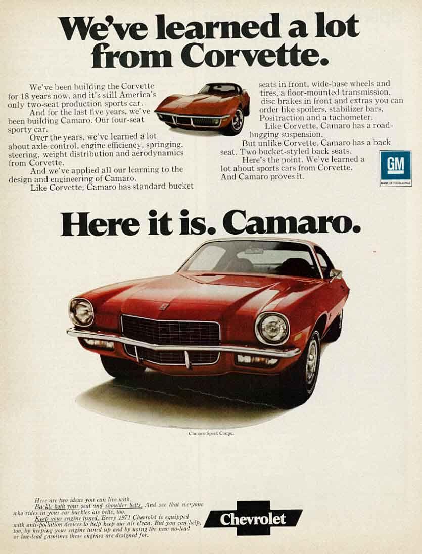 Vintage 1971 Chevrolet Camaro Car Print Ad Sport Coupe Red Etsy Car Print Ads Camaro Chevrolet Camaro