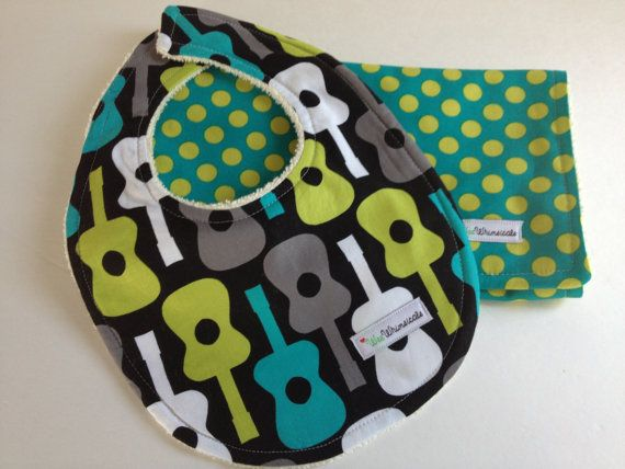 Guitar+ORGANIC+Bib+and+Burp+Cloth+Set+Michael+by+WeeWhimsicals