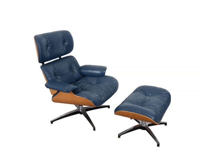 Eames Navy Blue Leather Lounge Chair And Ottoman Selig Mid Century Modern  By HearthsideHome