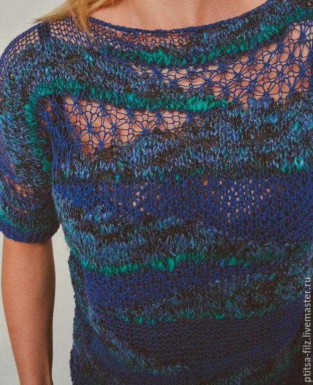 """Купить Джемпер """"Ночное море"""" - темно-фиолетовый, абстрактный, ручная работа, модный джемпер"""