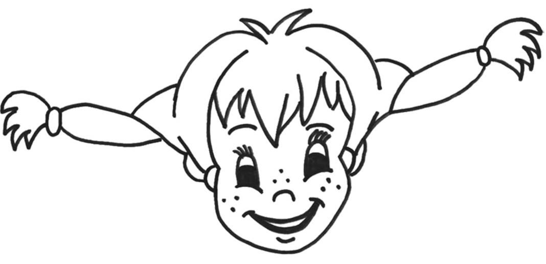 Pippi Longstocking Coloring Page But I Like It For Applique Idea
