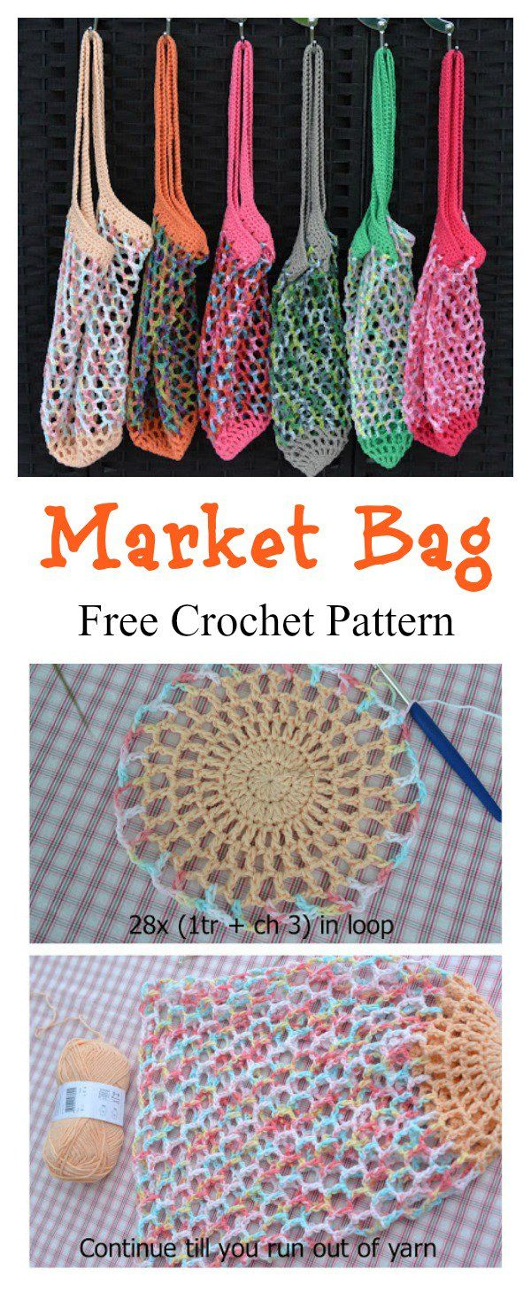 French Market Mesh Bag Free Crochet Pattern | Bolsa de mercado ...