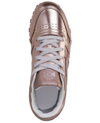 Reebok Little Girls  Classic Leather Metallic Casual Sneakers from Finish  Line - ROSE GOLD WHITE 1.5 481f1dcd0