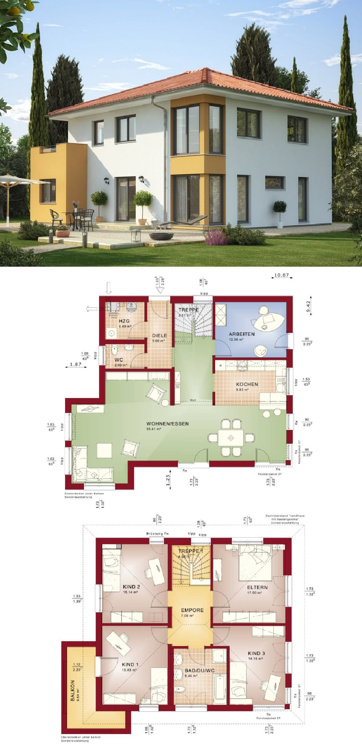 Stadtvilla im Landhaus-Stil modern mit Walmdach - Grundriss Haus ...