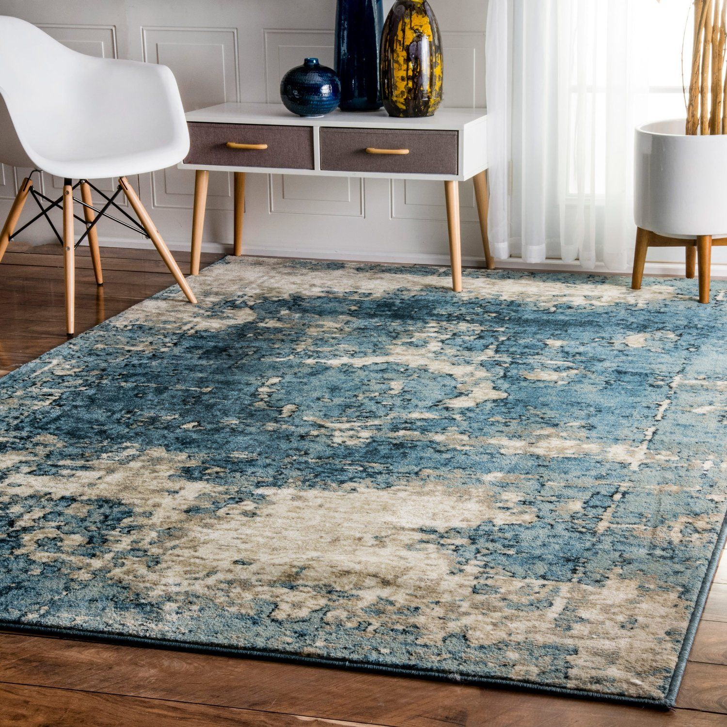Traditional Vintage Inspired Overdyed Distressed Fancy Blue Area Rugs 5 Feet 3 Inches By 7