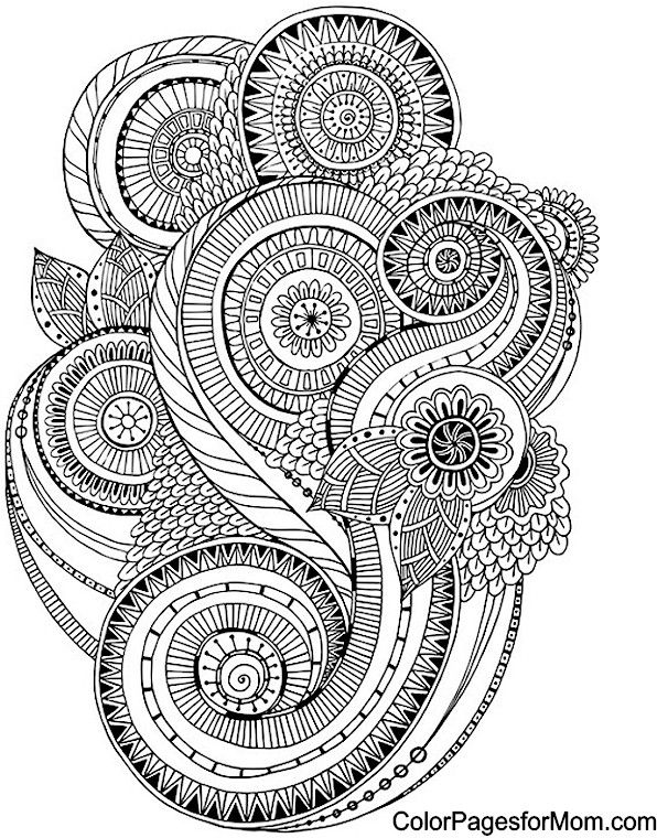 Abstract Doodle Zentangle Paisley Coloring pages colouring adult ...