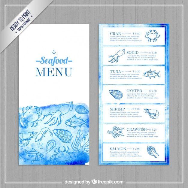 Download Watercolor Seafood Menu For Free Menu Design Seafood