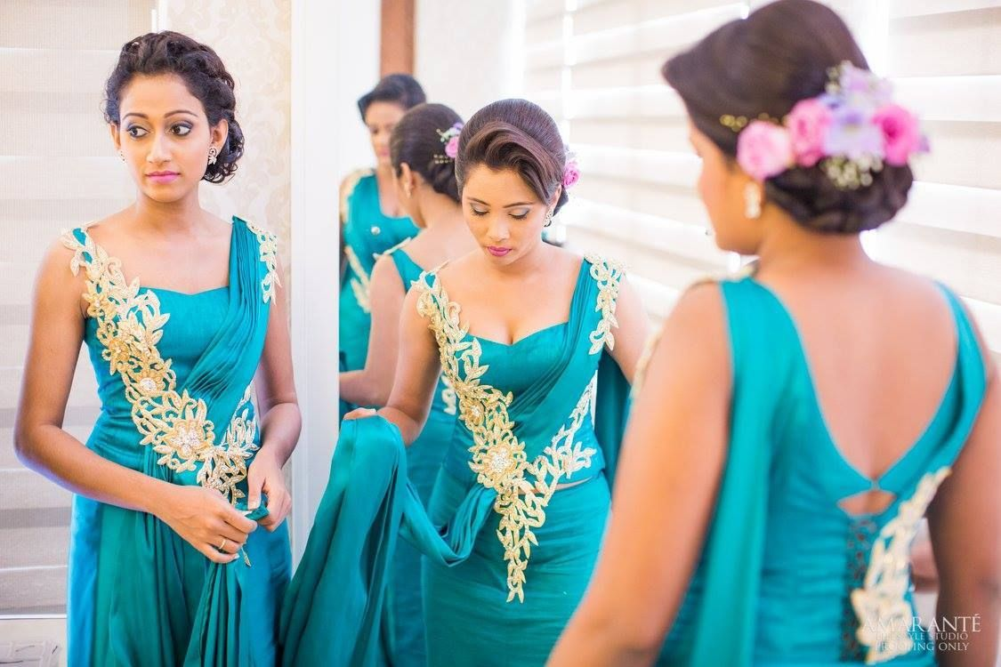 Sri Lankan Fashion Bridal Dresses Lace Bridesmaid Saree Indian Wedding Outfits