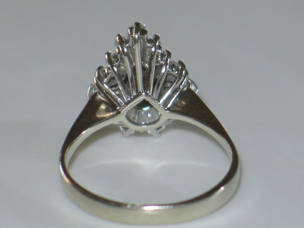 Gorgeous Diamond Engagement Ring in 14k White Gold. Pear Shape. from shortstack on Ruby Lane