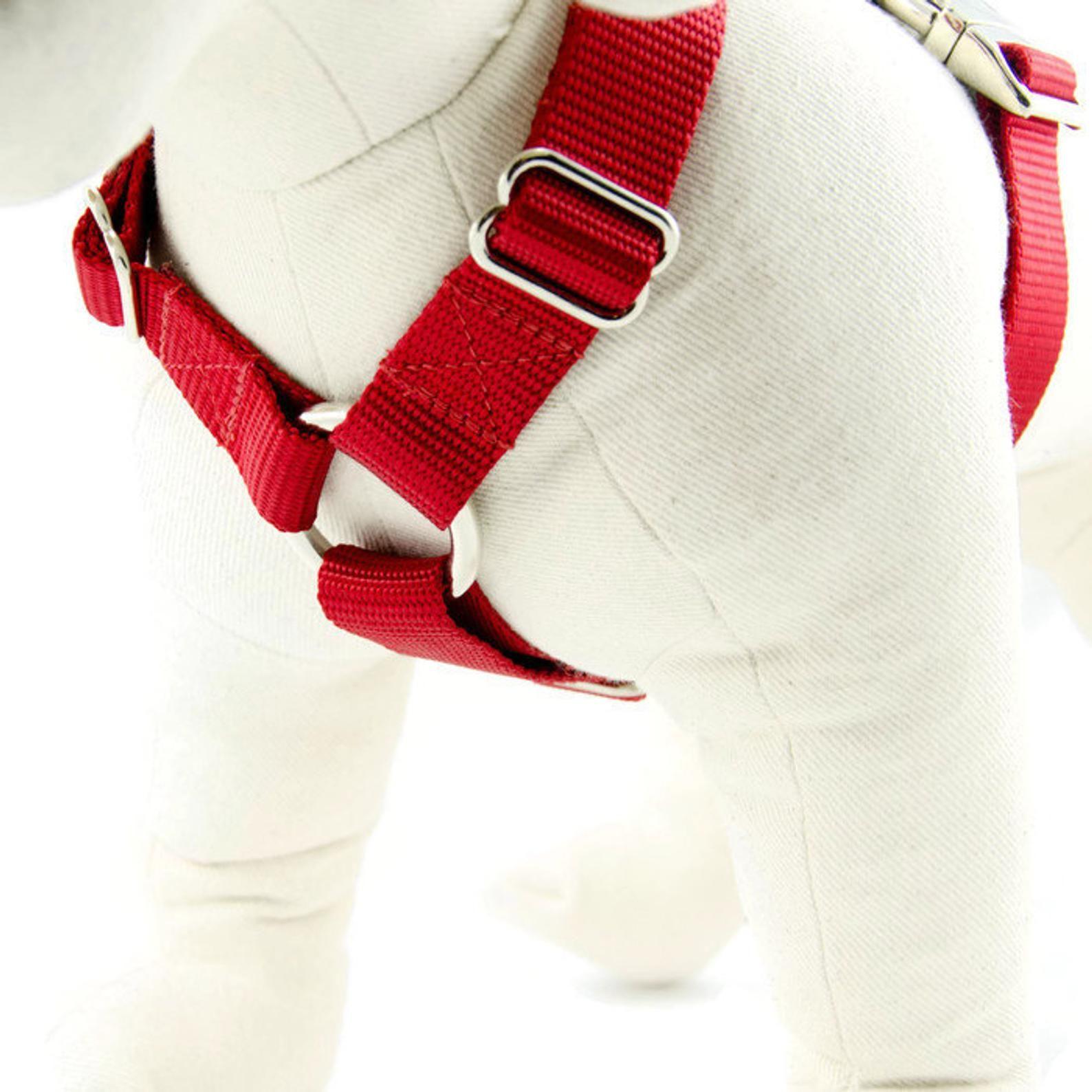 Adjustable dog harness nochoke personalized pet id tag