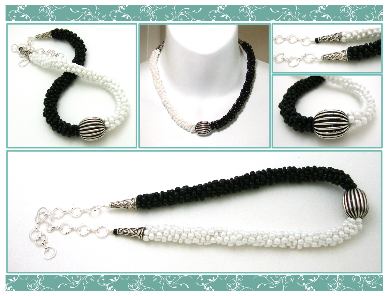 kumihimo patterns | Kumihimo Necklace - Beaded - Black and White ...