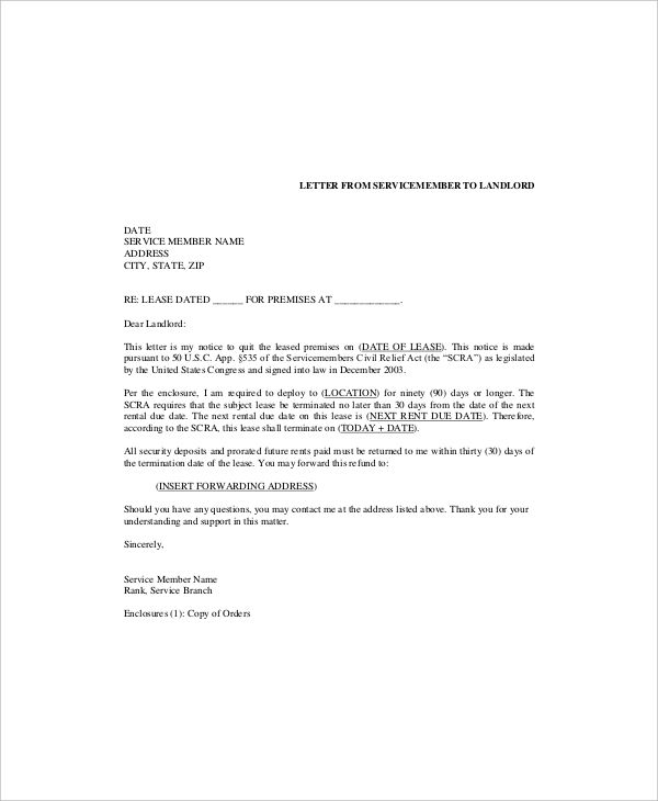 Lease Termination Templates Free Sample Example Format Letters