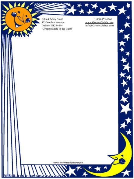 This printable stationery has a border and features a blue celestial
