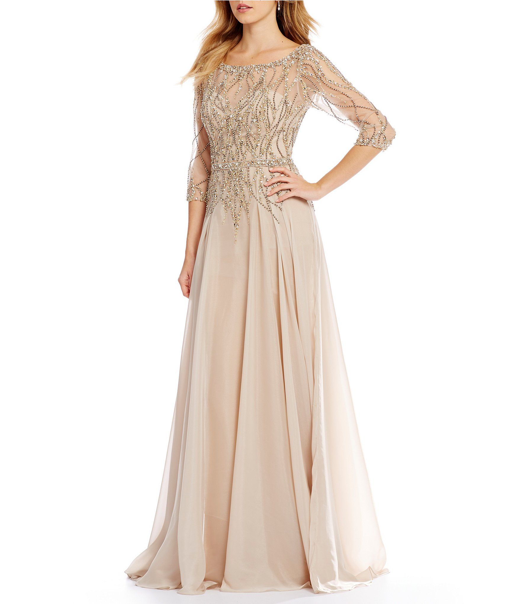 Shop for Terani Couture Beaded Bodice Chiffon Gown at Dillards.com ...