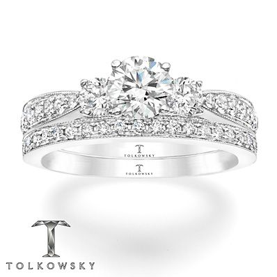 Tolkowsky Bridal Set 1 1 3 Ct Tw Diamonds 14k White Gold Kay Jewelers Bridal Sets Kay Jewelers Engagement Rings Unique Bridal Jewelry