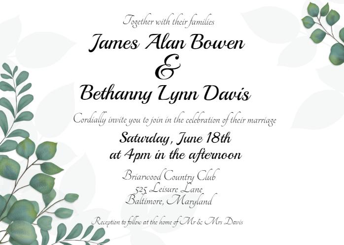 Free Eucalyptus Greenery Wedding Invitation Template Wedding Invitations Online Wedding Invitations Wedding Invitation Templates