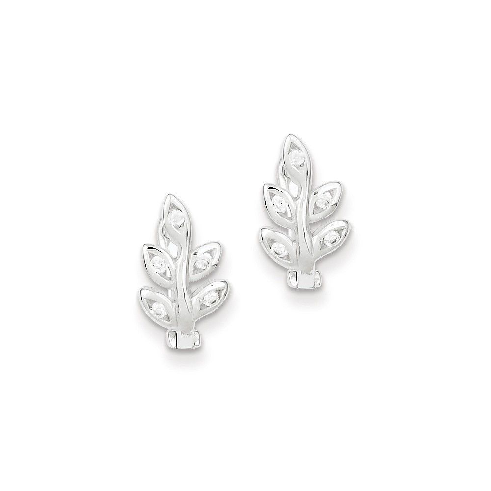 Sterling Silver CZ Leaf Hinged Earrings