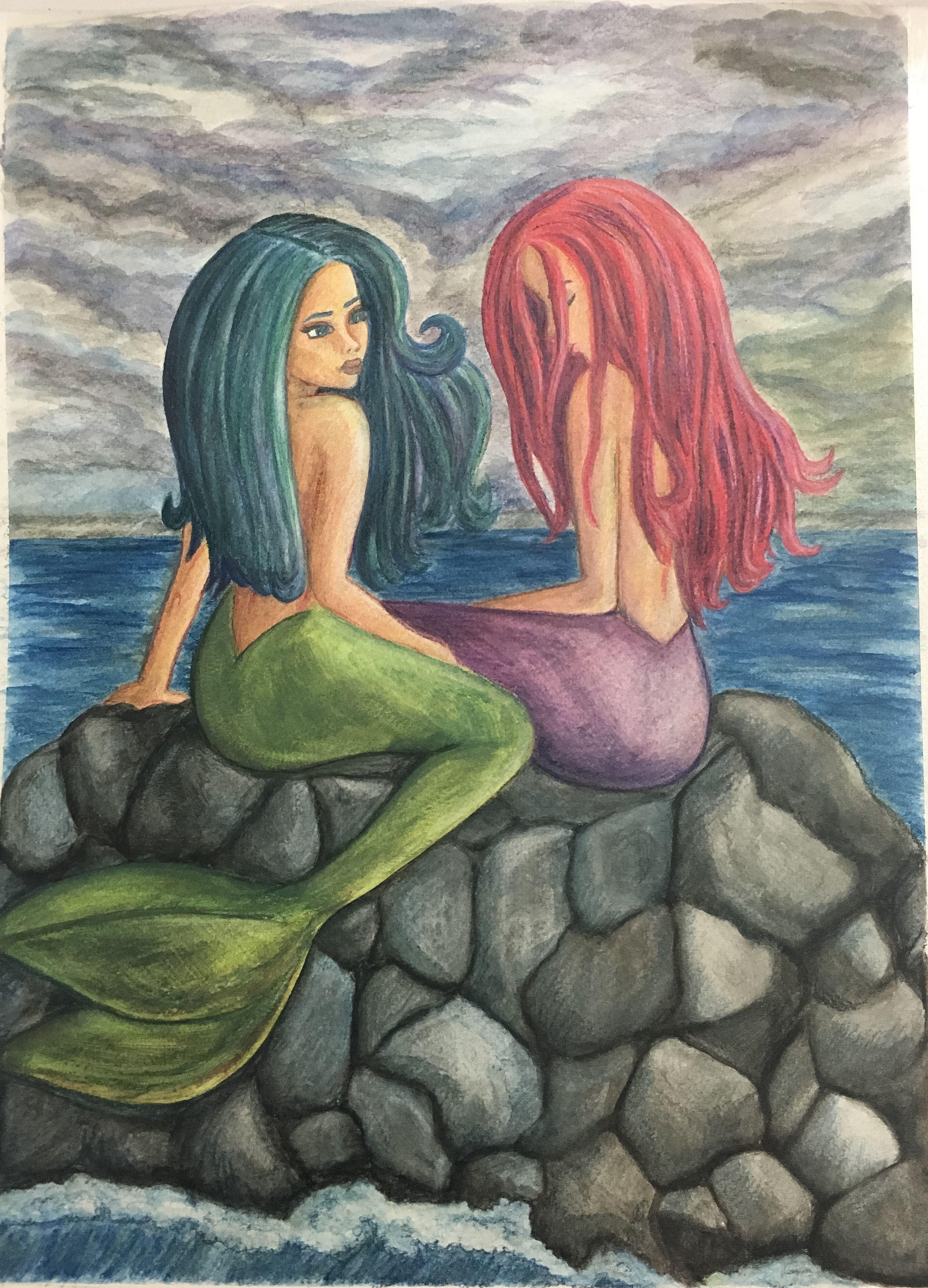 Mermaid painting using watercolor pencils | Mermaid ...
