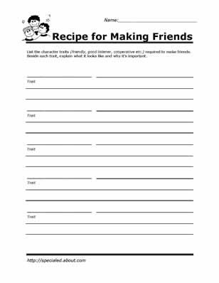 Worksheets Social Skills Worksheet worksheets you can print to build social skills communication recipe for making friends