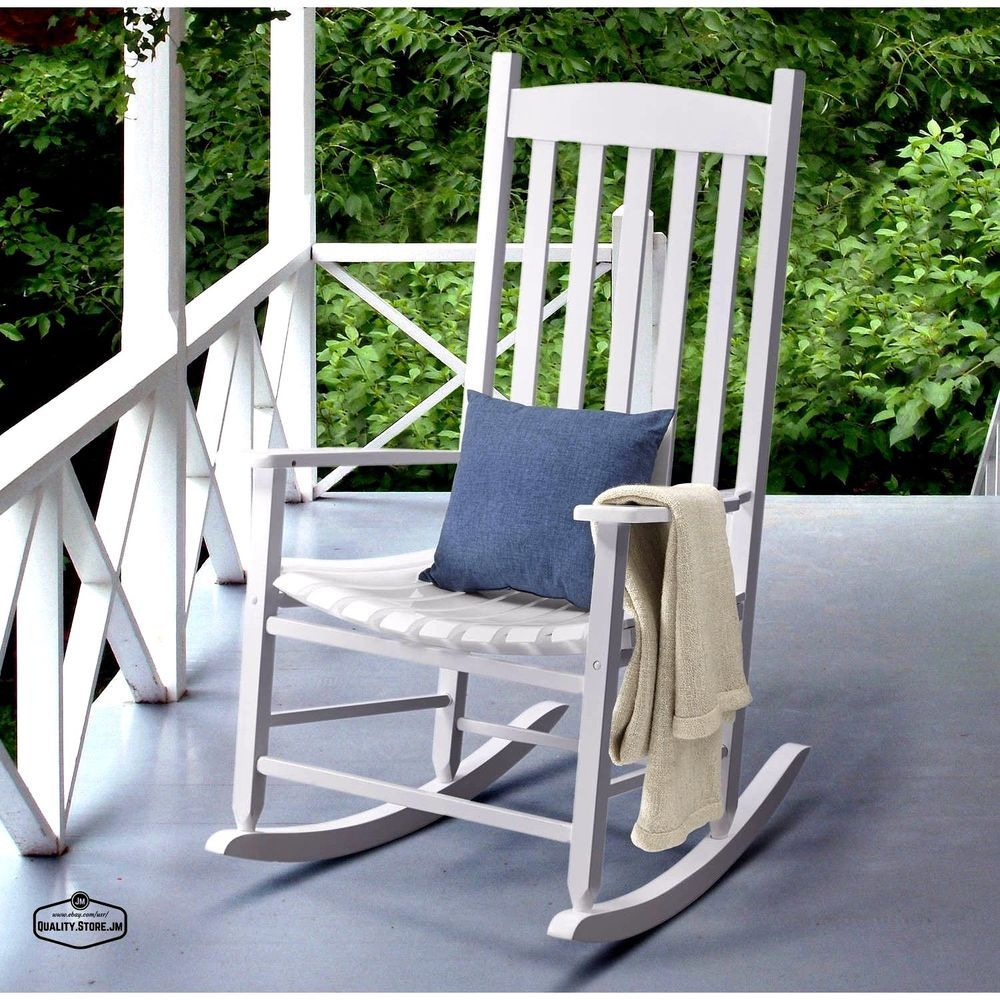 Rocking Chair Outdoor Chairs White Wood Porch Deck Rocker Seat