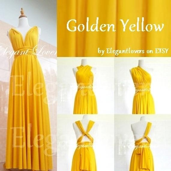 Golden Yellow Wrap Dress Wedding Bridesmaids Infinity Convertible