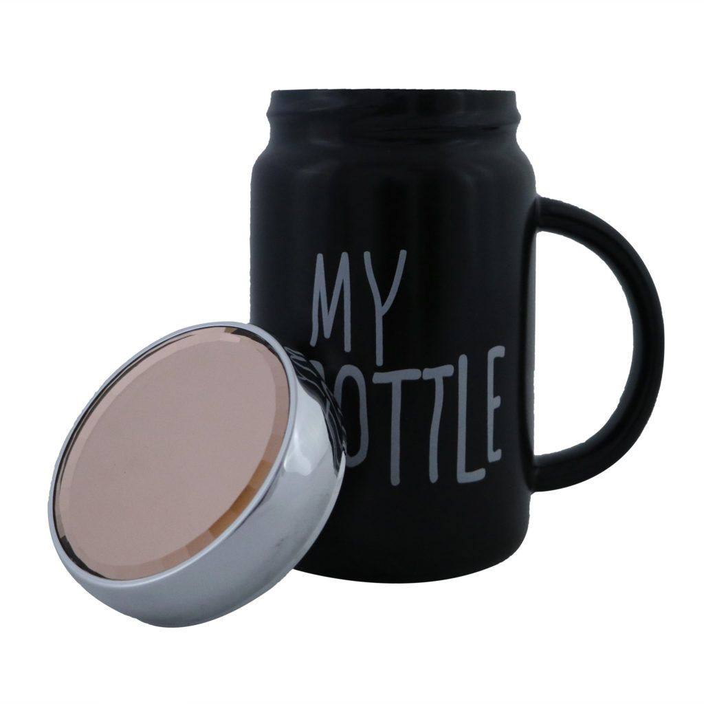 My Bottle Large Size Black Colored Funky Personal Mug Made With Ceramic Material With Shiney Surface Crown Lid On The Top Mugs Ceramic Materials Dining Decor