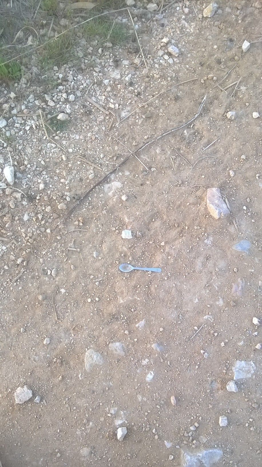 I know, I know. Its an old gag, but you can only play what's put in front of you. I came across a spoon in the road. Is it all that's left of a weary travelers rest stop? A sample of a buried horde worming its way to the surface?