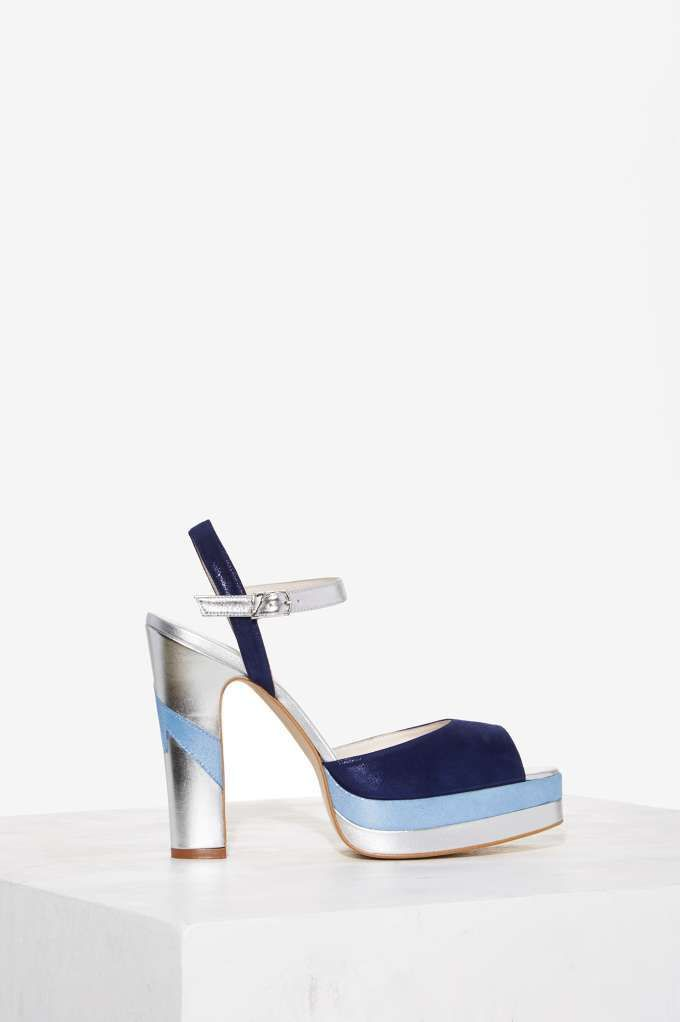 Nasty Gal x x Gal Terry de Havilland Coco Platform Heel blu scarpe   0c973e