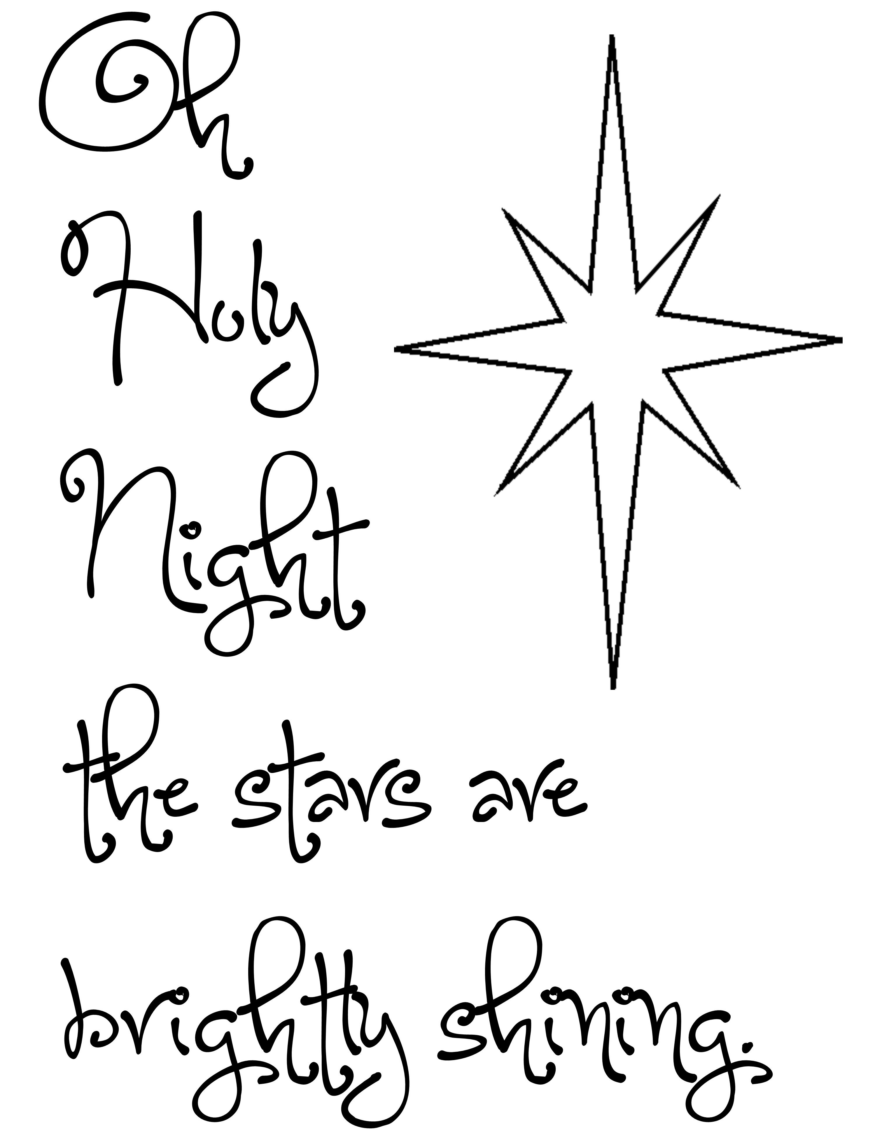 Free Christmas Printable Oh Holy Night With Star Use To