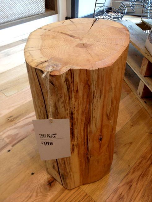 A Tree Stump Is Sold As A Trendy Side Table Tree Stump Side