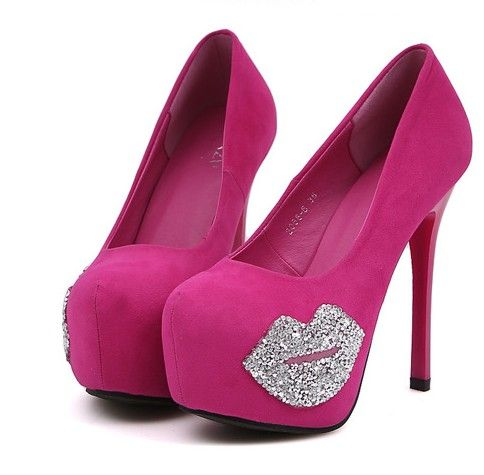 Sexy Diamante Rose Pink and Black High Heel Pumps | Fashion ...