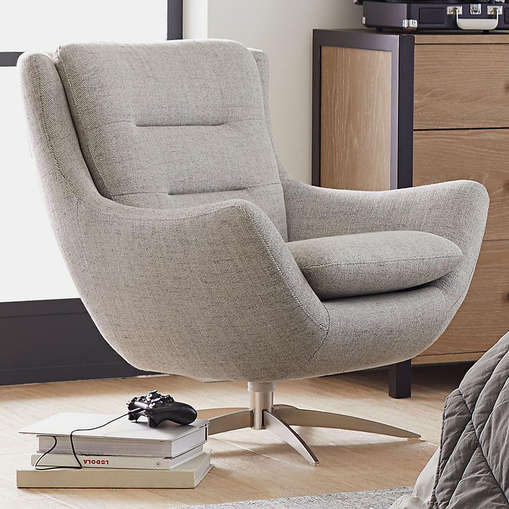 Boucle Twill Gravel Lennon Lounge Chair Swivel Chair Living Room Lounge Chair Lounge Seating
