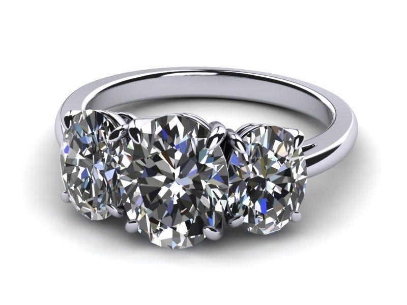 Platinum Diamond Oval Ring Trio