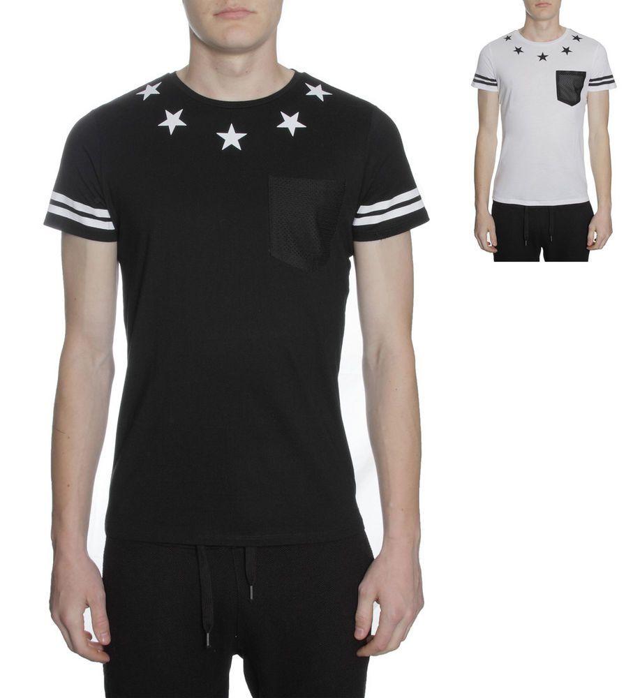Daniele Volpe Mens T Shirt Stars With Mesh Pocket Design Designer