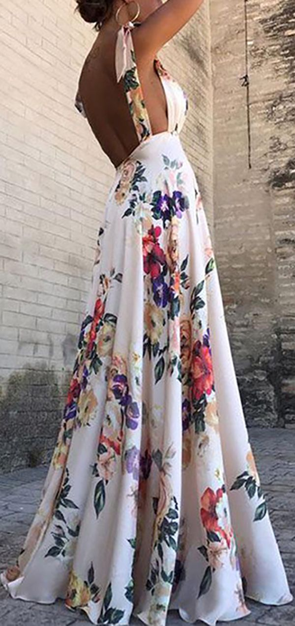 Hot Sale!Sexy New Backless Floral Print Maxi Dress 9