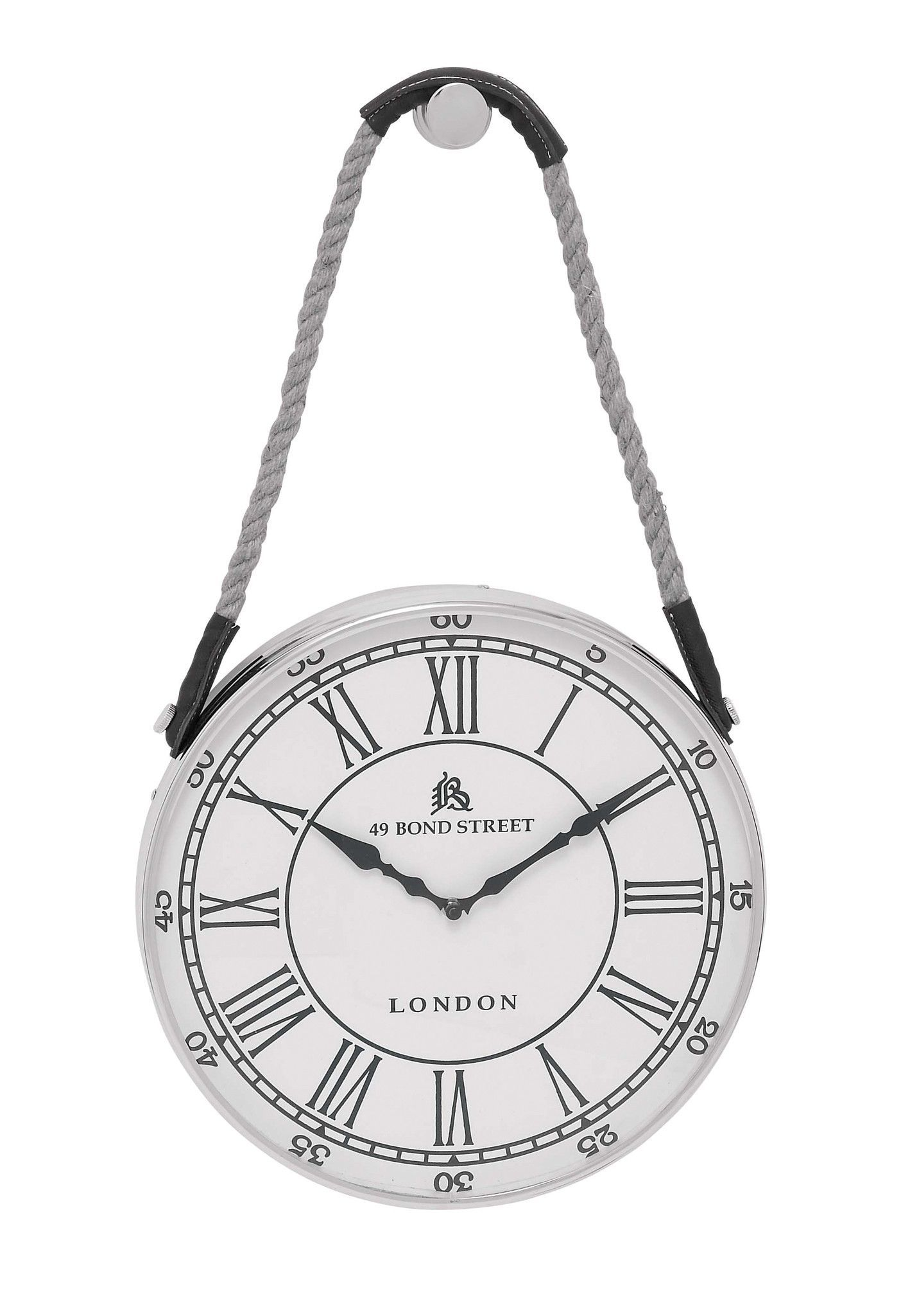 metal hanging wall clock with attached rope fitted with on wall clocks id=62835