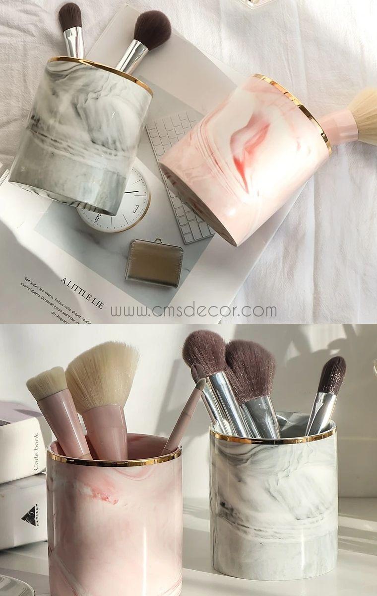 Marble Ceramic Makeup Brush Holder in 2020 Makeup brush