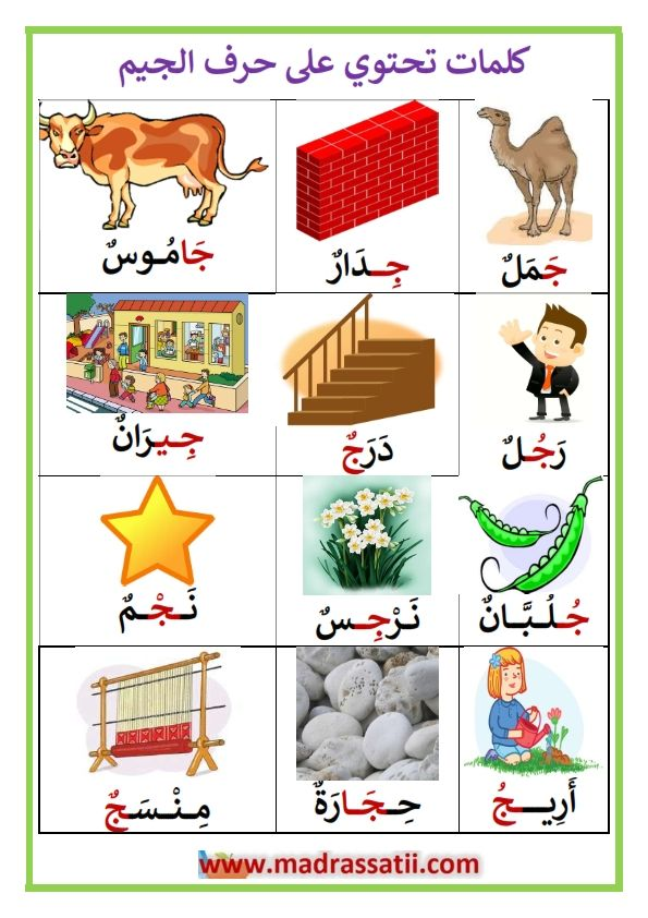 كلمات تحتوي على حرف الجيم موقع مدرستي Arabic Kids Arabic Alphabet For Kids Learning Arabic