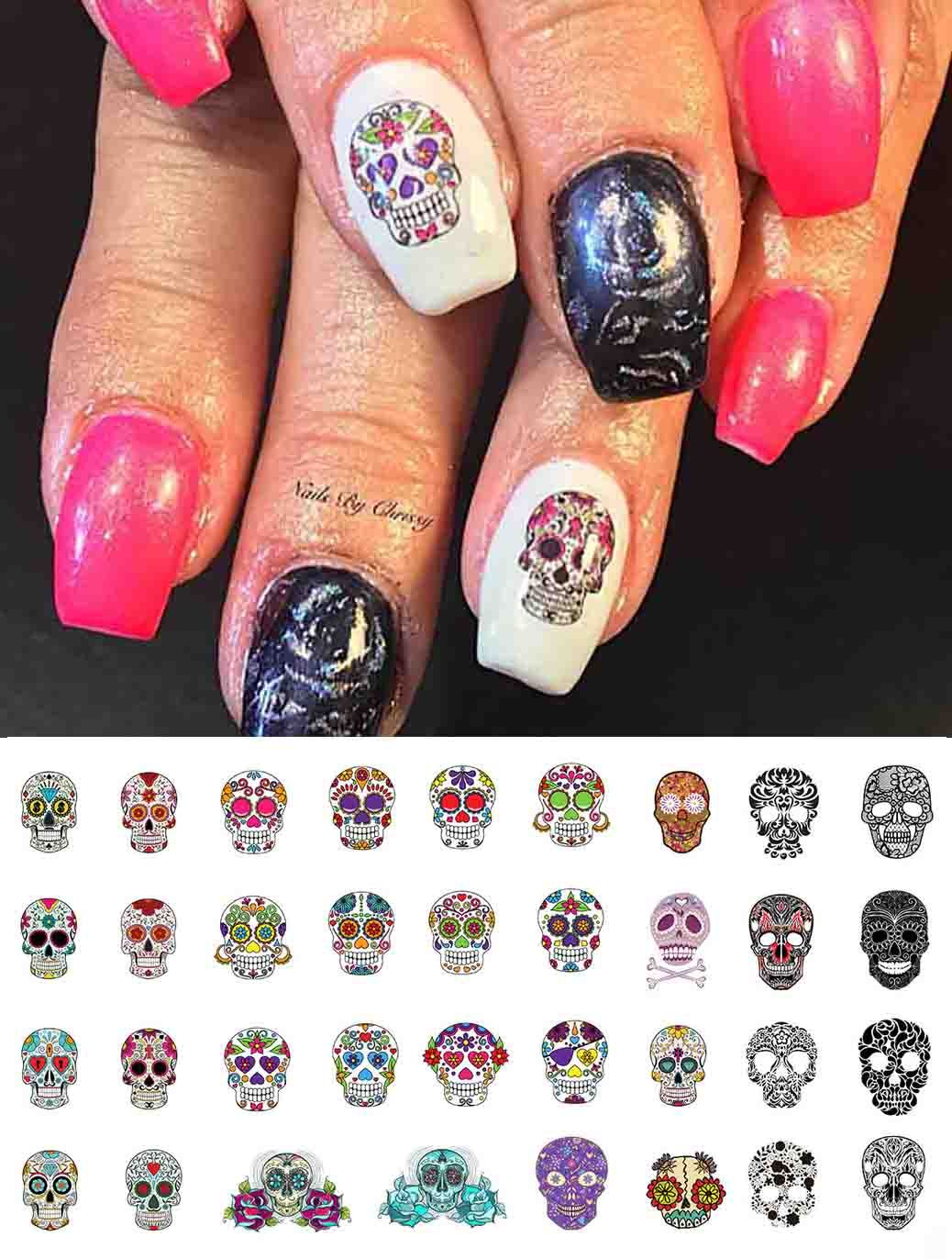 Pin By Moon Sugar Decals On Sugar Skull Nail Art Decals Pinterest