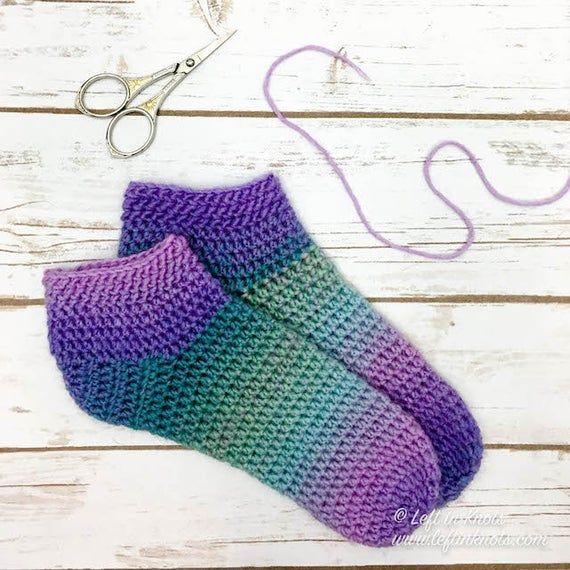 Cotton Candy Slipper Socks - Easy crochet slipper socks for beginners using one skein of yarn