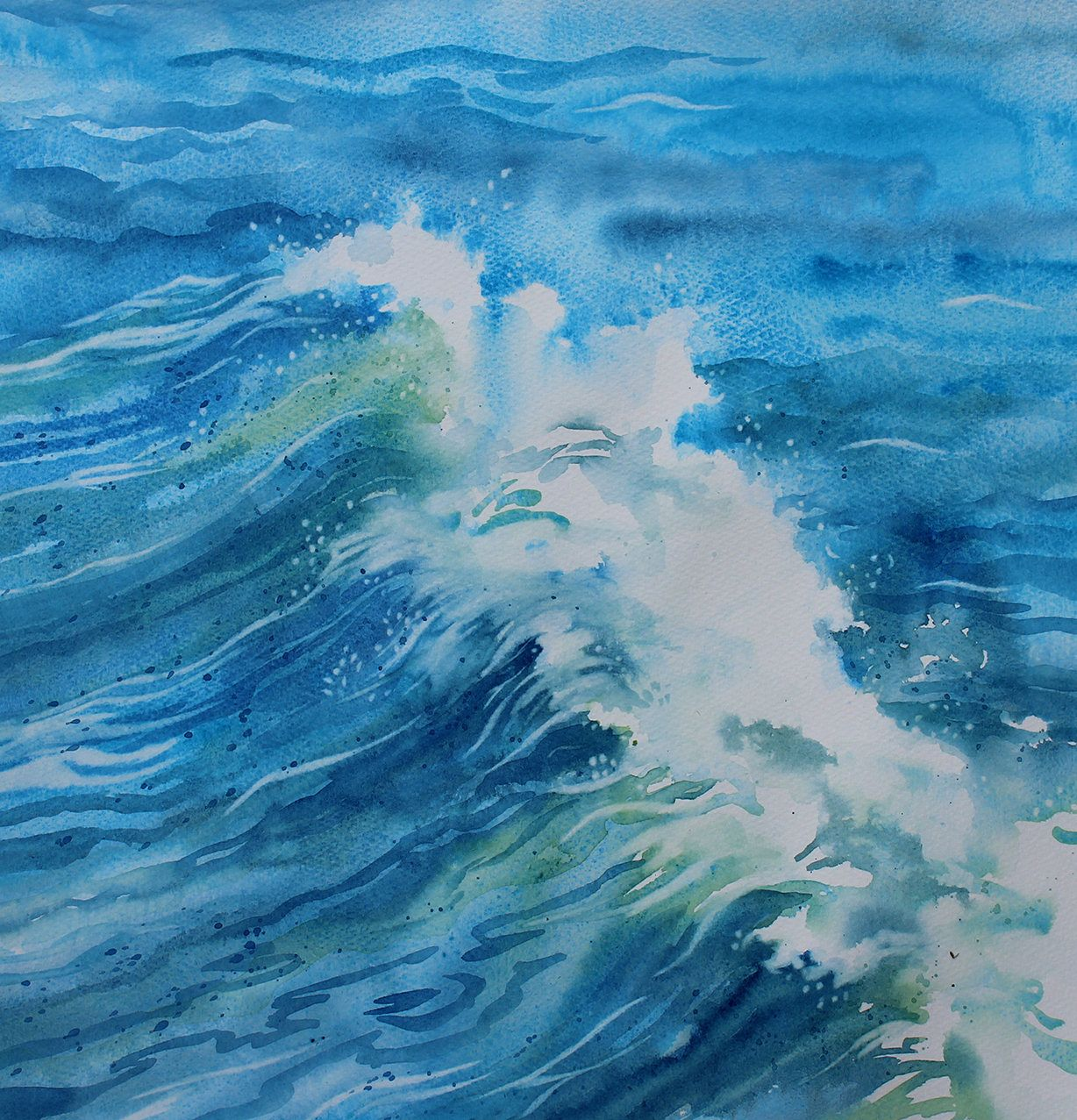 Original Seascape Wave Painting Sea Watercolor Ocean Swell