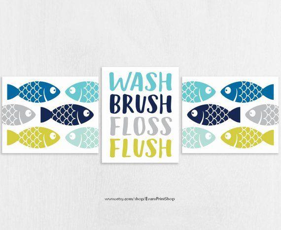Fish Bathroom Art Prints Set of 3 - Fish Bathroom Decor - Kids
