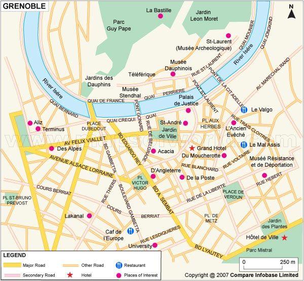 Grenoble Map httpwwwmapsofworldcomfrancegrenoblecitymap