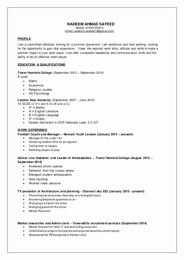 Part Time Job Resume Inspirational Nadeem Cv Part Time Jobs In