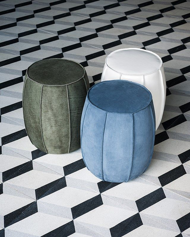 Upholstered round leather pouf bongo by baxter design for Baxter paola navone