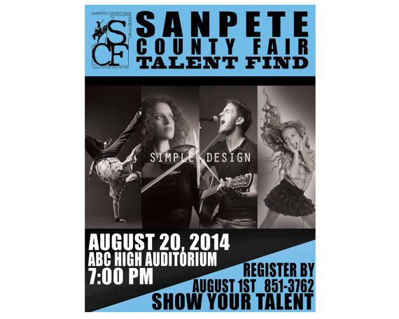 Talent Show Flyer Design Black and White by SimpleKDesign on Etsy