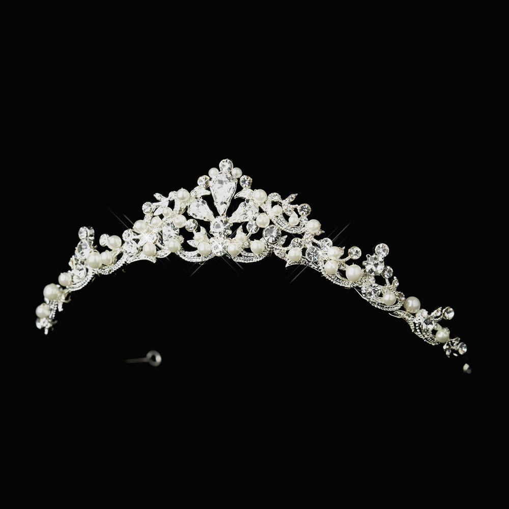 Tiaras wedding side tiara bridal necklace wedding bracelet tiara - Elegant White Pearl And Rhinestone Wedding Tiara Bridal Tiarabridal Jewelrybridal Combwedding Tiaraswedding